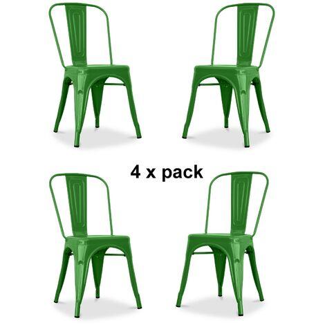 Chaises en métal Style Industriel-Chic Cuisine Bistro Tolix Design n°4 vert brillant