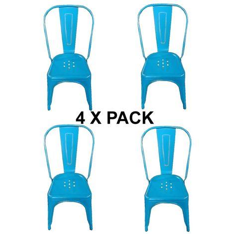 Chaises en métal Style Industriel-Chic Cuisine Bistro Tolix Design n°4 vintage bleu