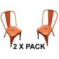 Chaises en métal Style Industriel-Chic Cuisine Bistro Tolix Design n°2 orange vieilli