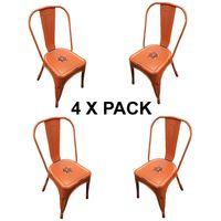 Chaises en métal Style Industriel-Chic Cuisine Bistro Tolix Design n°4 orange vieilli