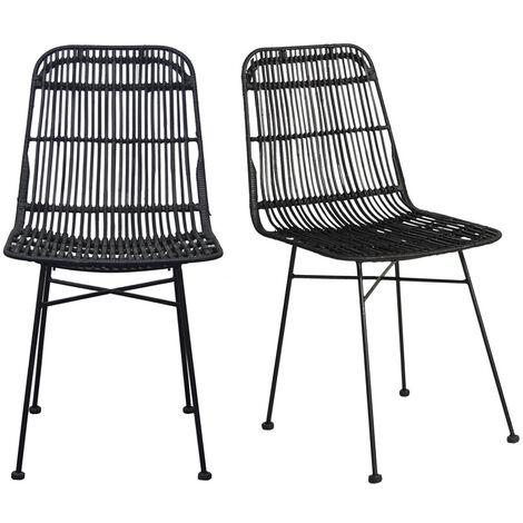 Chaises en rotin peint en (lot de 2) MALACCA - Noir