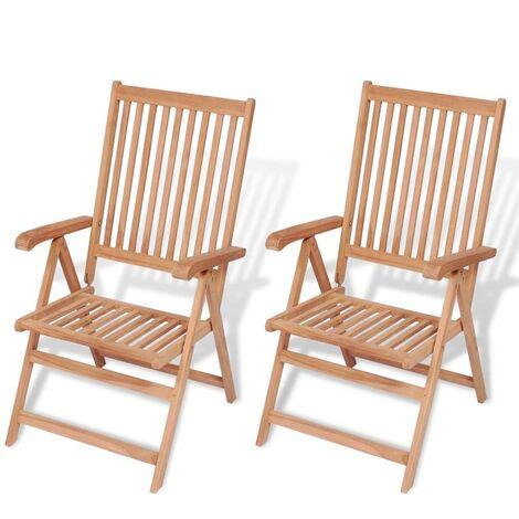 Chaises inclinables de jardin 2 pcs Bois de teck solide - 43029