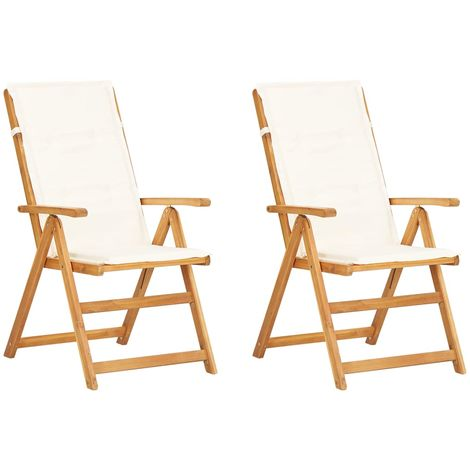 Chaises inclinables de jardin 2 pcs Marron Bois solide d'acacia