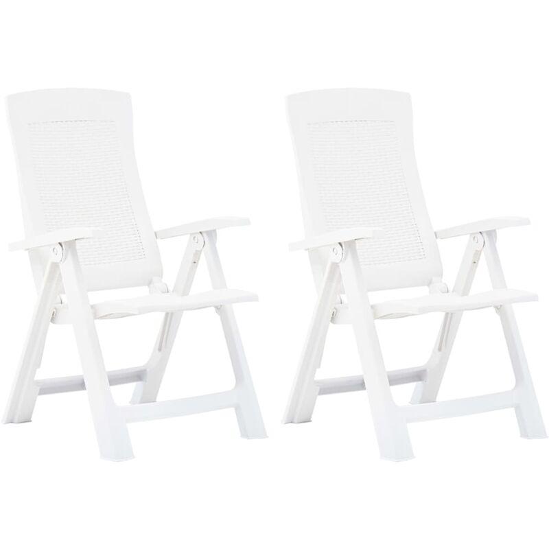 Chaises inclinables de jardin 2 pcs Plastique Blanc