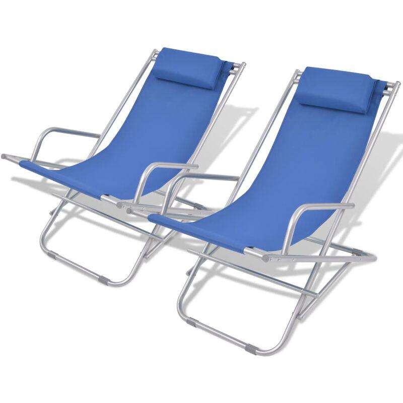 Chaises inclinables de terrasse 2 pcs Acier Bleu