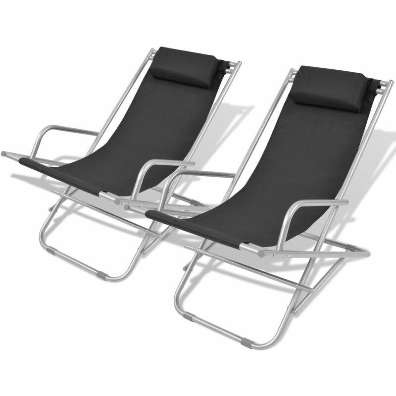 Chaises inclinables de terrasse 2 pcs Acier Noir