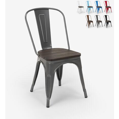 Chaises industrielles en bois et acier Tolix pour cuisine et bar Steel Wood