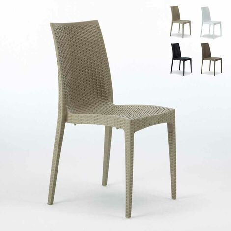 Chaises Jardin Poly-rotin empilable Bar Bistrot Stock 22pz