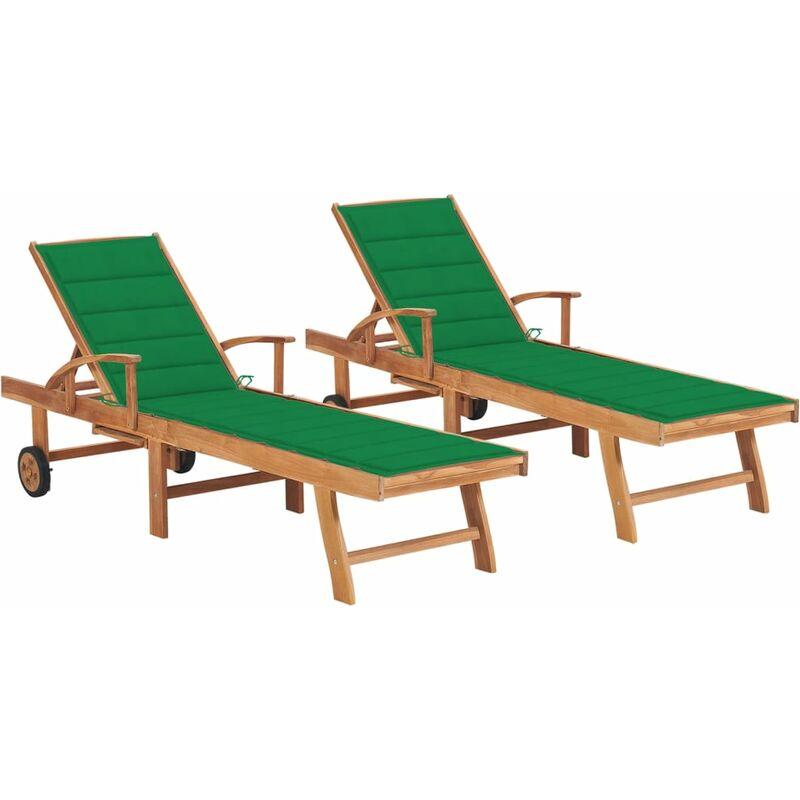 Chaises longues 2 pcs avec coussin vert Bois de teck solide