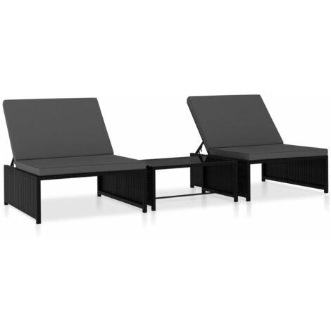 Chaises longues 2 pcs avec table Résine tressée Noir