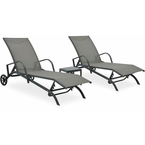 Chaises longues 2 pcs avec table Textilène et acier