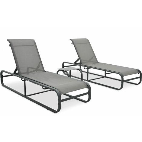 Chaises longues 2 pcs avec table Textilène et aluminium