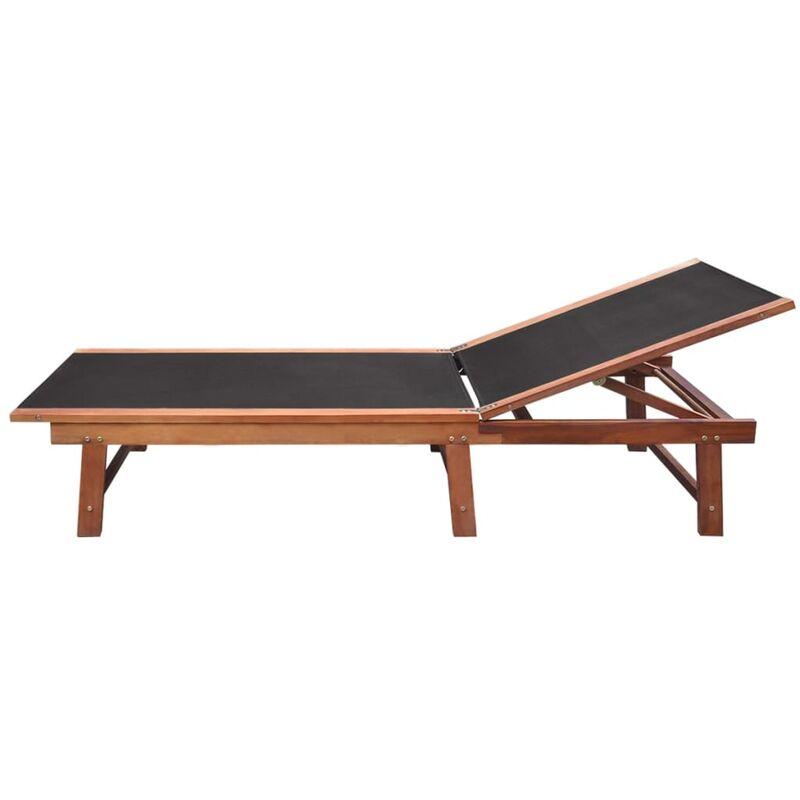 2pcs Et Chaises Bois D'acacia Solide Textilène Longues Table lKTFcu31J