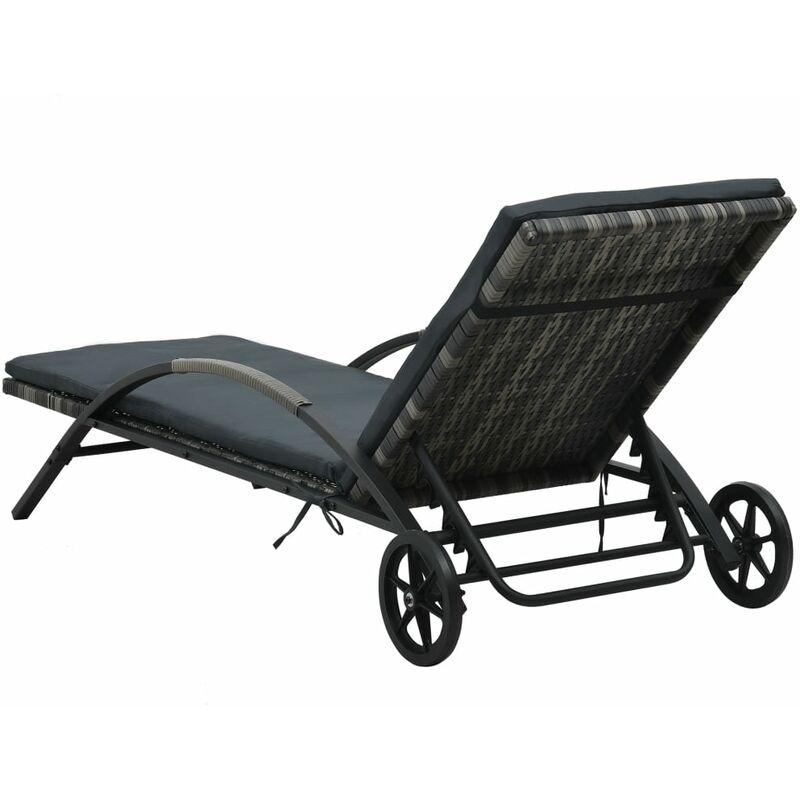 Chaises longues avec table Résine tressée Anthracite