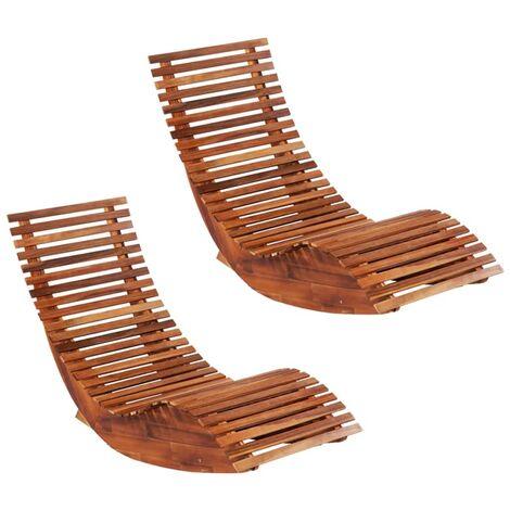 Chaises longues basculantes 2 pcs Bois d'acacia