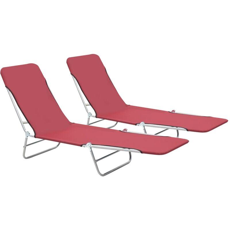 Youthup - Chaises longues pliables 2 pcs Acier et tissu Rouge