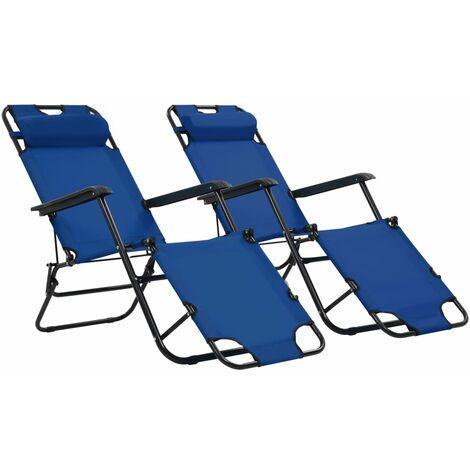 Chaises longues pliables 2 pcs avec repose-pied Acier Bleu
