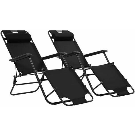Chaises longues pliables 2 pcs avec repose-pied Acier Noir