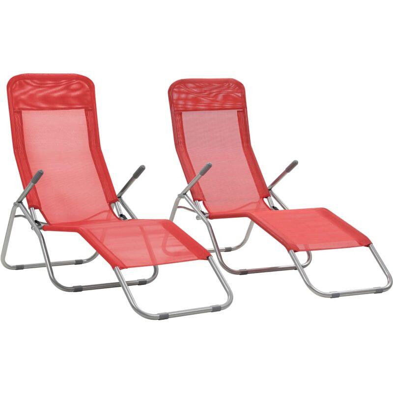 Chaises Pliables 2 Longues Textilène Pcs Rouge 9HWIE2D