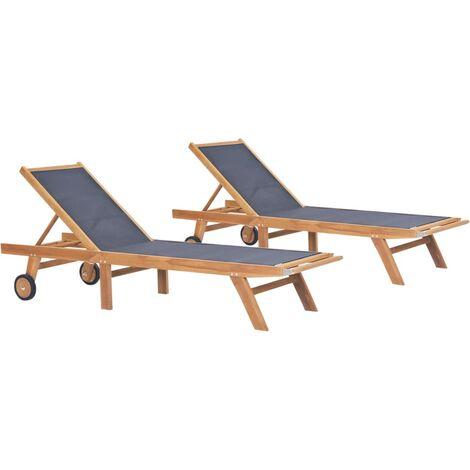 Chaises longues pliables avec roulettes 2 pcs Teck et textilène