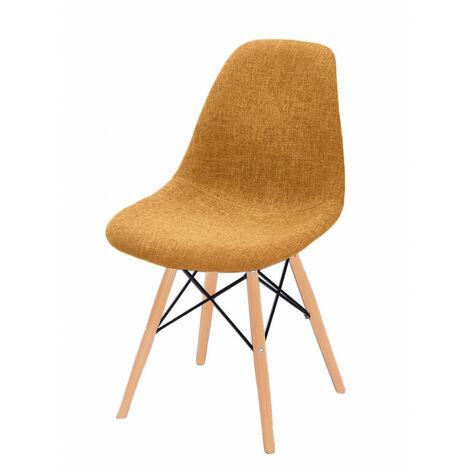 chaises orange tissu & bois de hêtre - RETRO - Orange