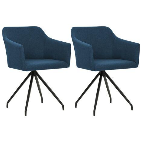 Chaises pivotantes de salle à manger 2 pcs Bleu Tissu