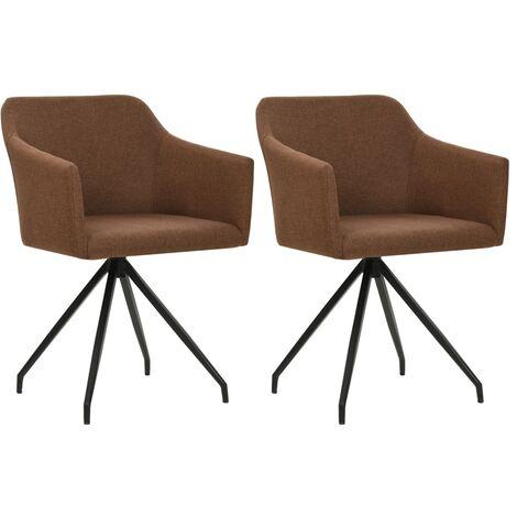 Chaises pivotantes de salle à manger 2 pcs Marron Tissu