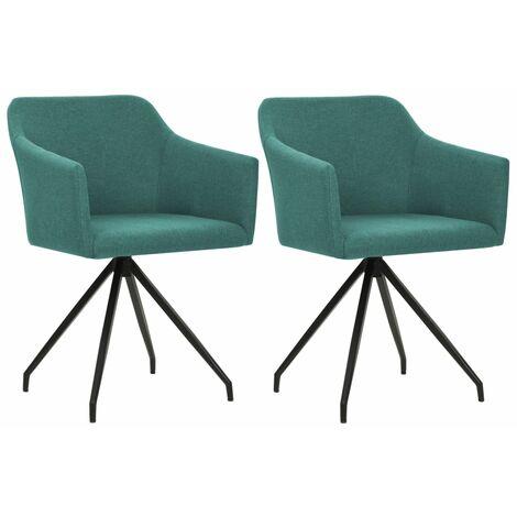 Chaises pivotantes de salle à manger 2 pcs Vert Tissu