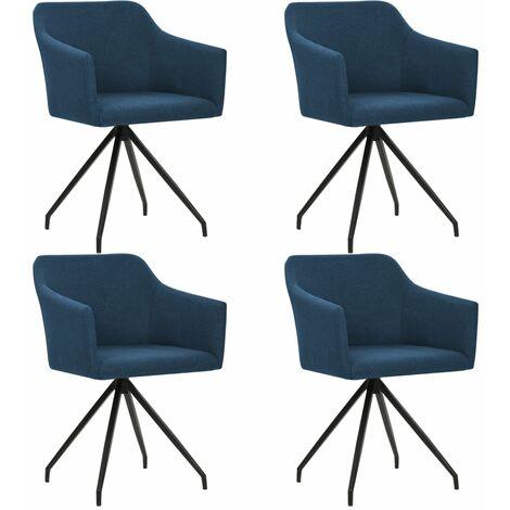 Chaises pivotantes de salle à manger 4 pcs Bleu Tissu