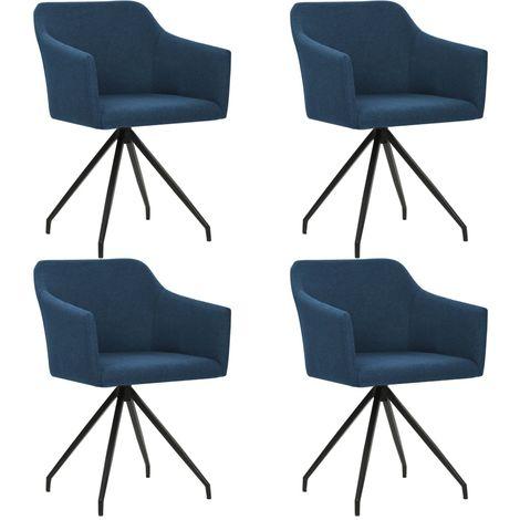 Chaises pivotantes de salle a manger 4 pcs Bleu Tissu