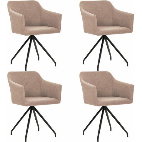 Chaises pivotantes de salle à manger 4 pcs Taupe Tissu