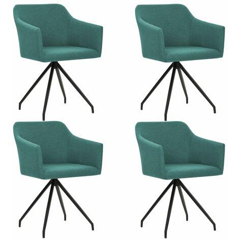 Chaises pivotantes de salle à manger 4 pcs Vert Tissu