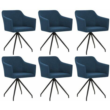 Chaises pivotantes de salle à manger 6 pcs Bleu Tissu