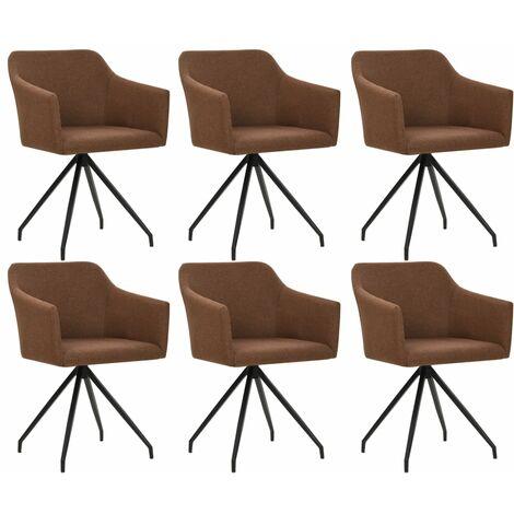 Chaises pivotantes de salle à manger 6 pcs Marron Tissu