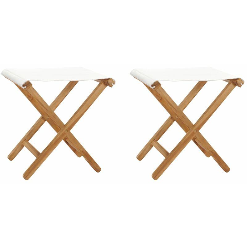 Chaises pliables 2 pcs Bois de teck solide et tissu Blanc crème