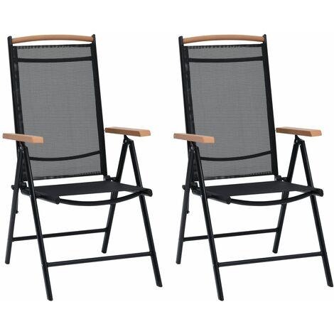 Chaises pliables de jardin 2 pcs Aluminium et textilène Noir