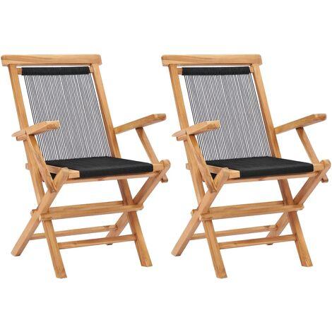 Chaises pliables de jardin 2 pcs Bois de teck solide et corde