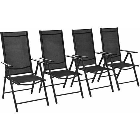 Chaises pliables de jardin 4 pcs Aluminium et textilène Noir