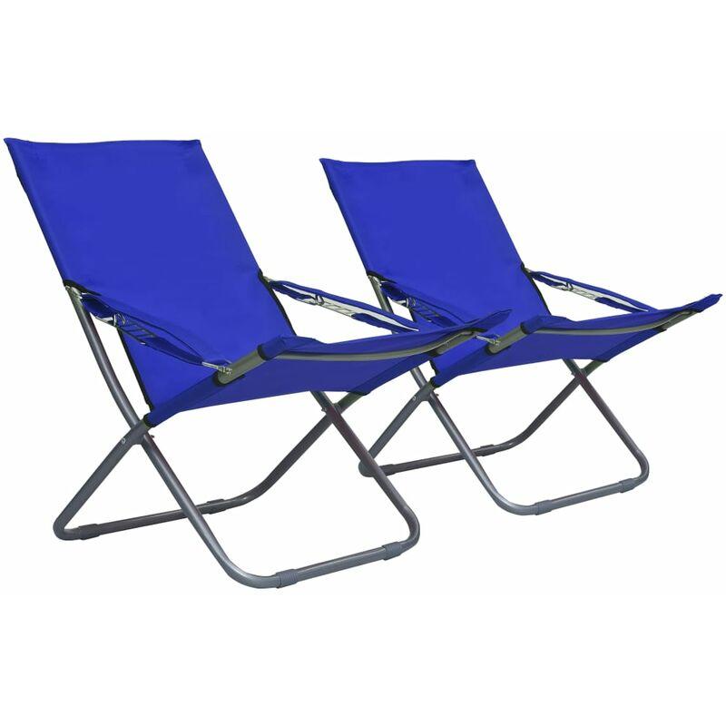 Youthup - Chaises pliables de plage 2 pcs Tissu Bleu