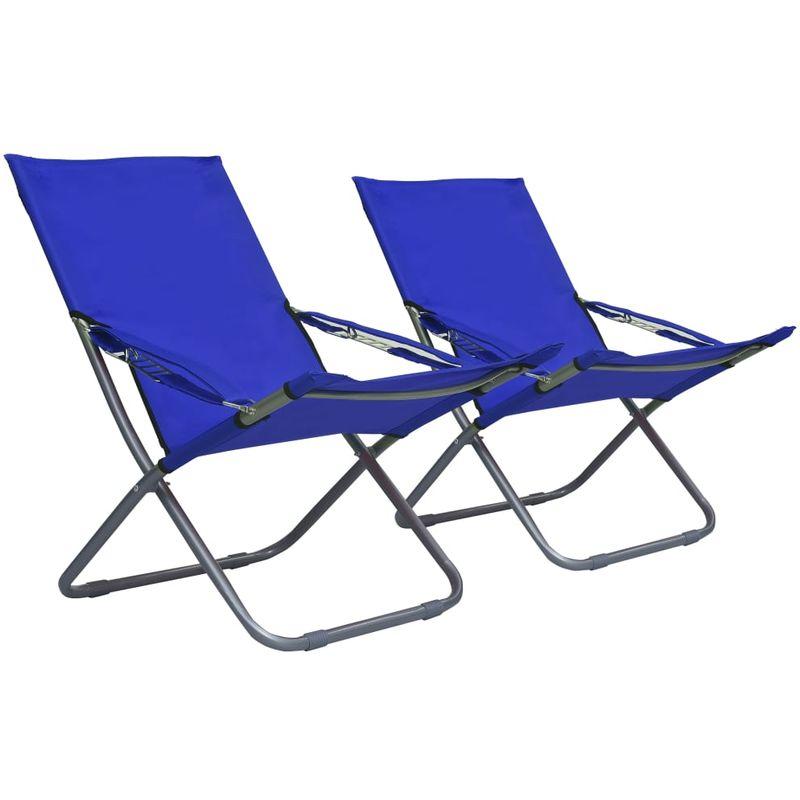 Chaises pliables de plage 2 pcs Tissu Bleu