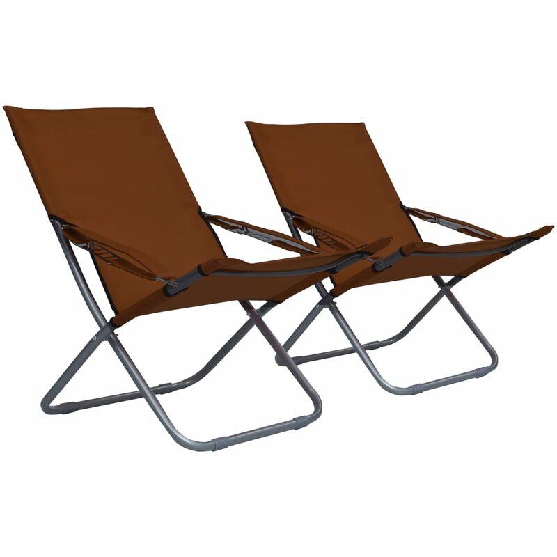 Youthup - Chaises pliables de plage 2 pcs Tissu Marron