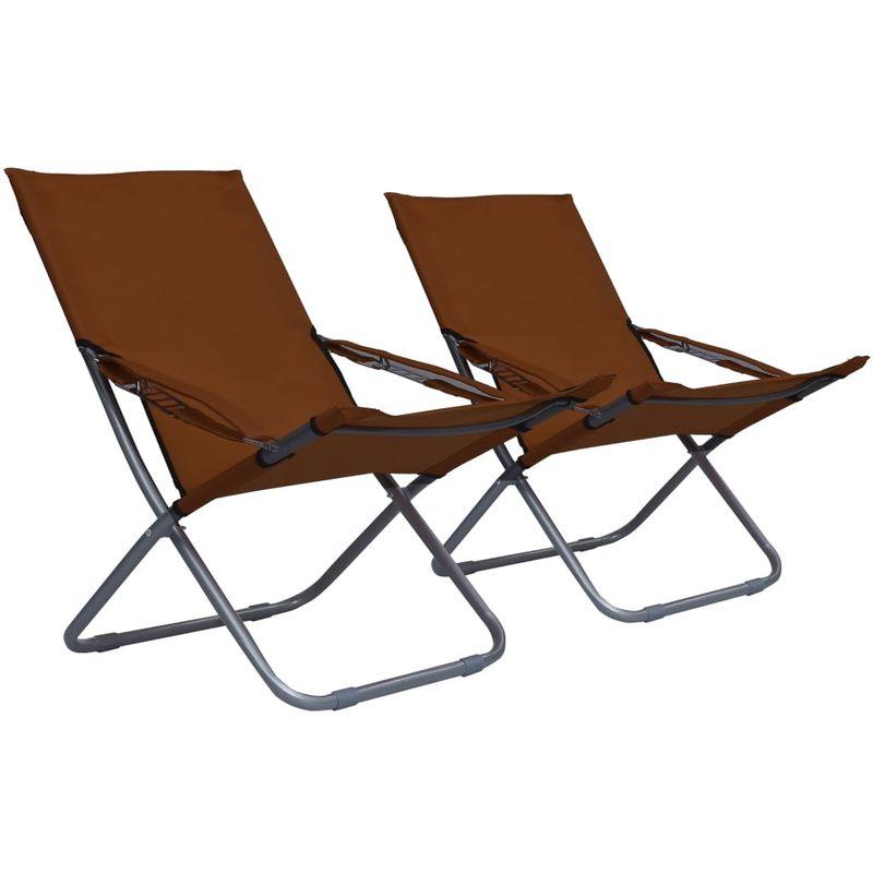 Chaises pliables de plage 2 pcs Tissu Marron