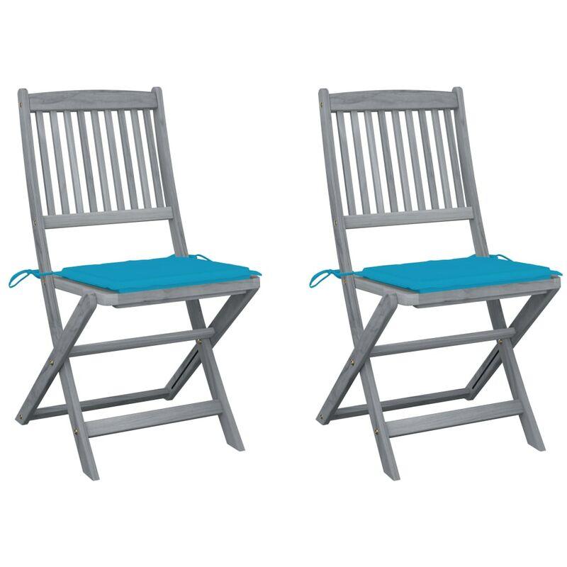 Vidaxl - Chaises pliables d'extérieur 2 pcs avec coussins Bois d'acacia