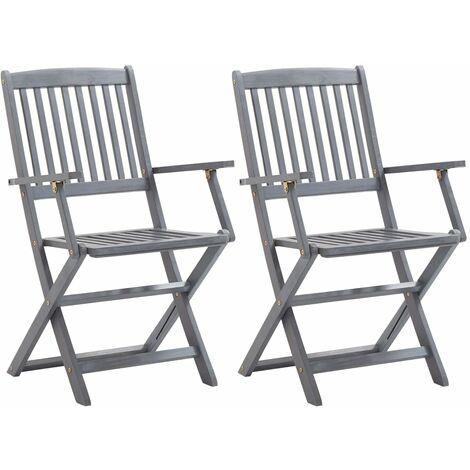 Chaises pliables d'extérieur 2 pcs Bois d'acacia solide