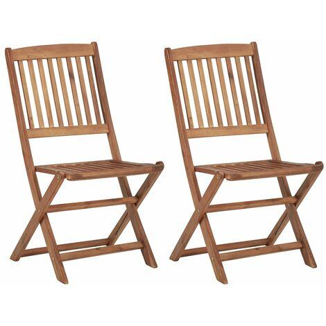 """main image of """"Chaises pliables d'extérieur 2 pcs Bois d'acacia solide"""""""