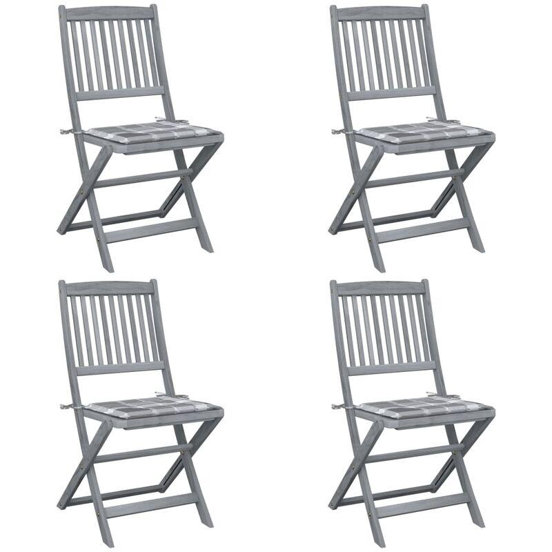 Vidaxl - Chaises pliables d'extérieur 4 pcs avec coussins Bois d'acacia