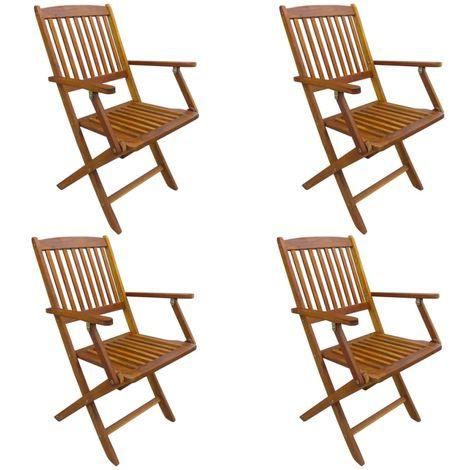 Chaises pliables d'exterieur 4 pcs Bois d'acacia solide