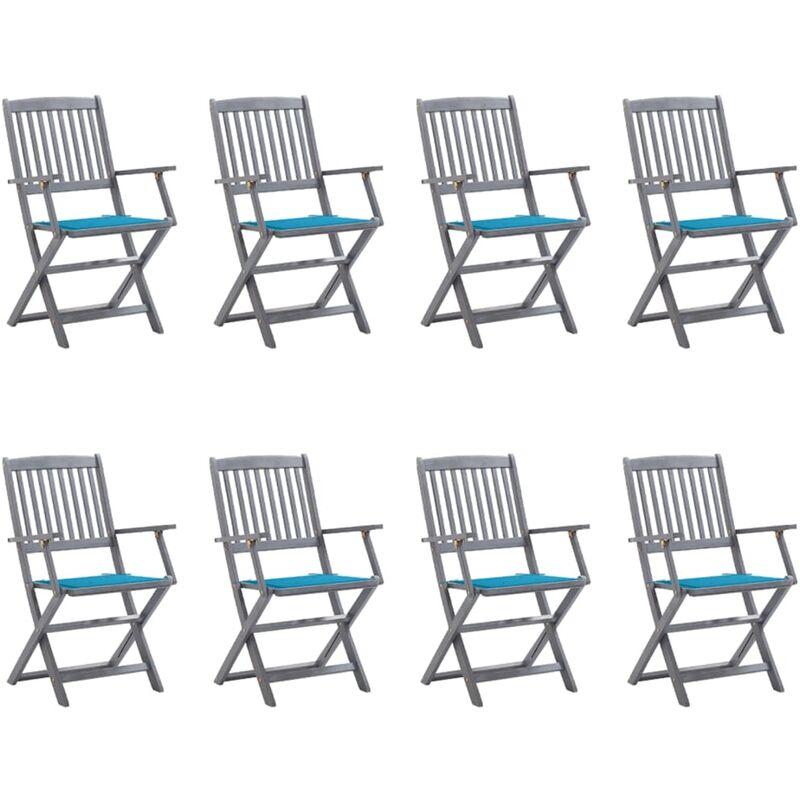 Chaises pliables d'extérieur 8 pcs avec coussins Bois d'acacia