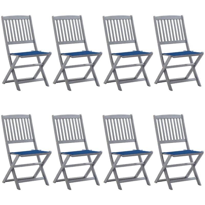 Vidaxl - Chaises pliables d'extérieur 8 pcs avec coussins Bois d'acacia