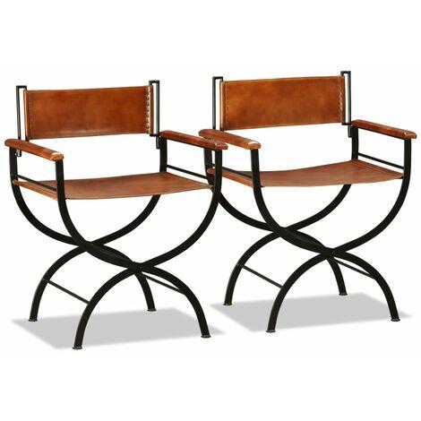 Chaises pliantes 2 pcs Noir et marron Cuir véritable